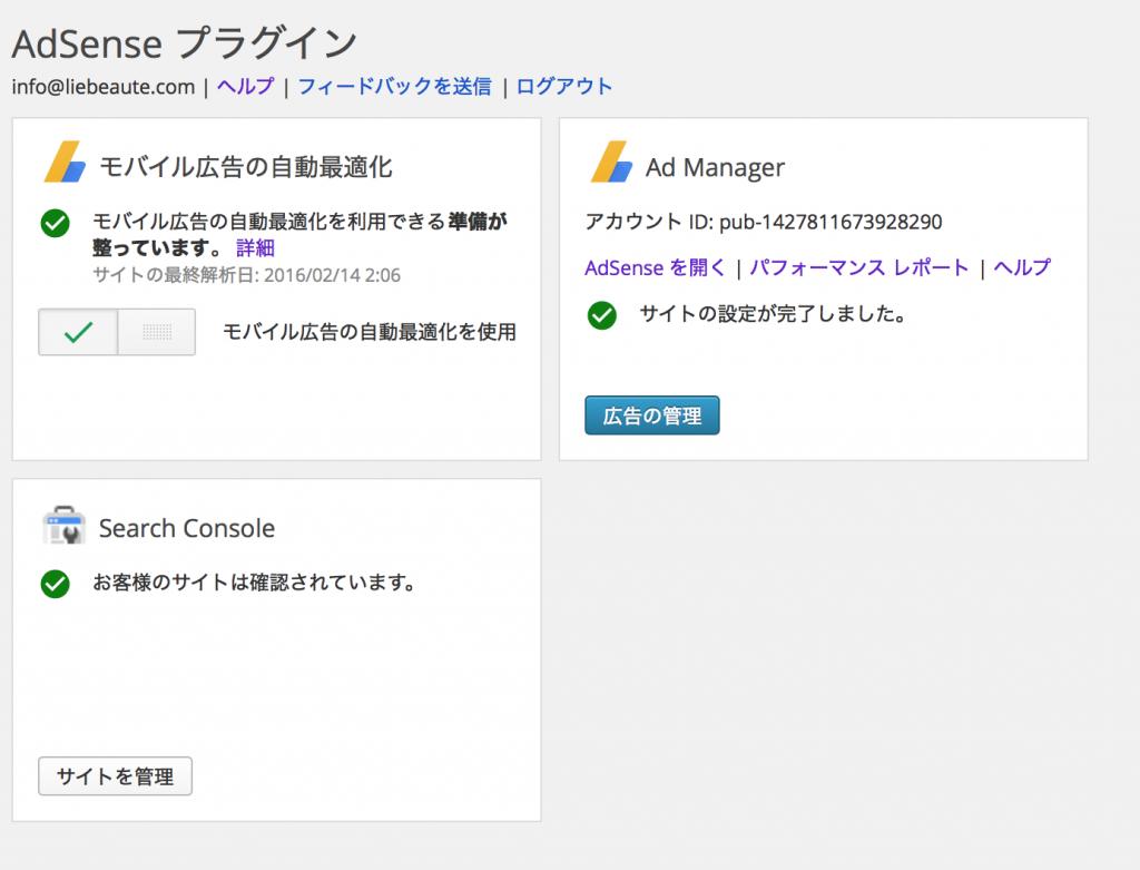 AdSenseプラグイン設定画面